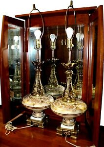 1950s Hollywood Regency Cast Brass Gilt Lamps By Sears