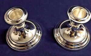 Gorham Newport Silver Plated Candle Holders 2 3 1 4 Tall