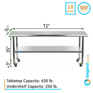 Stainless Steel Work Table W Casters 14 X 72 Food Prep Nsf Utility Bench