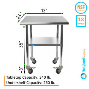 Stainless Steel Work Table W Casters 24 X 12 Food Prep Nsf Utility Bench
