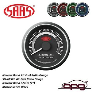 Saas Muscle Series Air Fuel Ratio Gauge Rich Lean 52mm Black Narrow Band Stoich