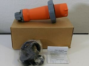Hubbell Hbl460p12w Pin And Sleeve Iec Plug 3 Pole 4 Wire 60 Amp 125 250v