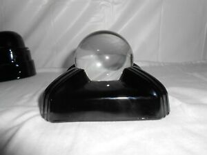 Vintage Art Deco Crystal Gazing Ball With Black Glass Stand 1920 S Display Piece