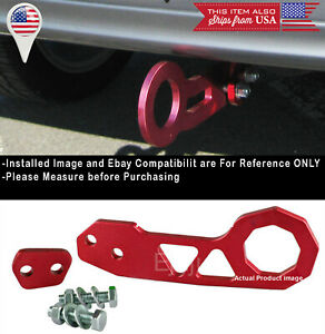 Aluminum Anodized Billet Red Rear Bumper Tow Hook Towing Kit For Toyota Scion