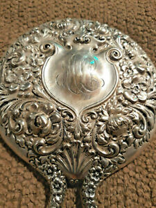 Antique Repousse Heavy Ornate Sterling Silver Hand Mirror