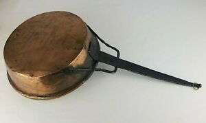 Antique Vintage French Copper Pan Skillet Farm House Wrought Iron Twisted Handle