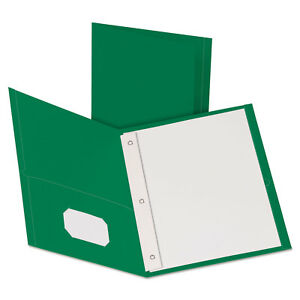 Oxford Twin pocket Folders With 3 Fasteners Letter 1 2 Capacity Green 25 box