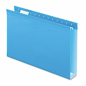 Pendaflex Reinforced 2 Extra Capacity Hanging Folders 1 5 Tab Legal Blue 25 box