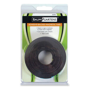 Baumgartens Adhesive Magnetic Tape Flexible 1 x100 Roll Black 66100