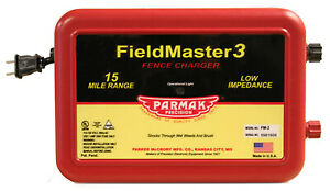 Parmak Fm3 Fieldmaster 3 Electric Fence Charger 15 mile Low Impedance Plug in