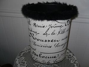 Vintage French Country Metal Fabric Trash Can