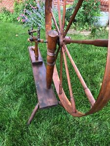 Large Antique Spinning Wheel Handmade In 1812