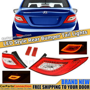 Rear Tail Lights For 2012 2017 Hyundai Accent 4 Dr Sedan Led Style