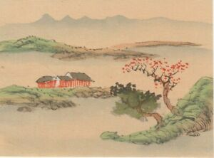 Hand Painted Ink Japanese Miniture Painting On Rice Paper C1930 S Free Shipping