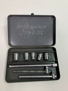 Vtg Snap On Tools 1 4 Drive 8 Pc Socket Wrench Set In Metal Tool Box Usa Tools