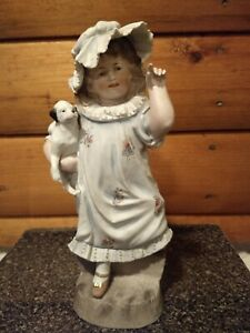 Antique Large Hertwig Bisque Figurine Girl Holding Her Dog