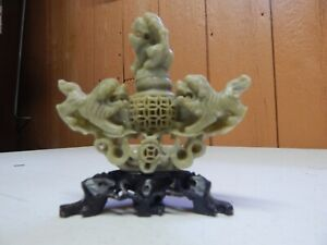 Vintage Chinese Carved Soap Stone Foo Dogs Figure Statue