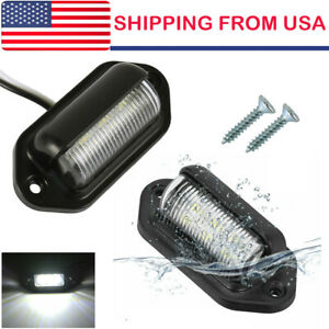1pair Universal 6 Led License Plate Light 12v Super Bright For Truck Suv Trailer