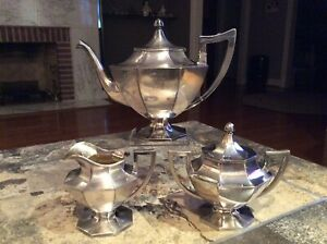3pc Wilcox Silver Co Silver Plate Tea Set Teapot Sugar Creamer W Mono