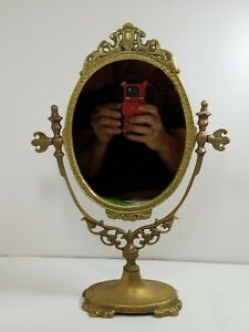 Vintage Solid Brass Ornate Vanity Table Dressing Swivel Mirror Maitland Smith