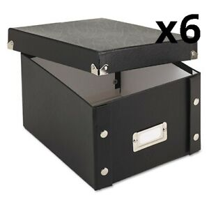 Collapsible Index Card File Box Holds 1 100 5 X 8 Cards Black Pack Of 6