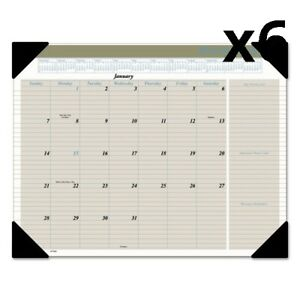 6 Pack Of Executive Monthly Desk Pad Calendar 22 X 17 Buff 2020