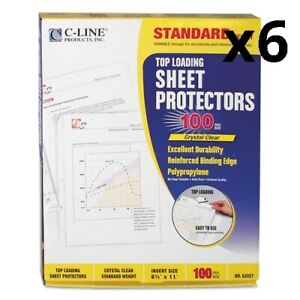 6 Standard Weight Polypropylene Sheet Protectors Clear 2 11 X 8 1 2