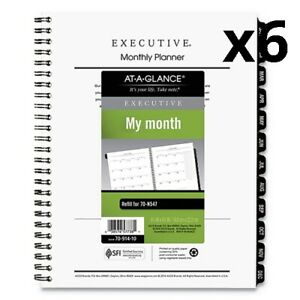 6 Pack Of Executive Monthly Planner Refill 6 5 8 X 8 3 4 White 2019
