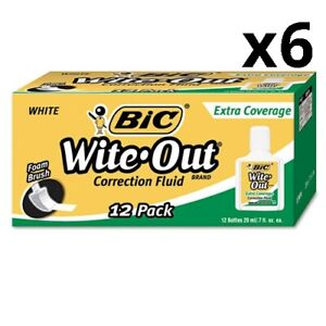 6 Wite out Extra Coverage Correction Fluid 20 Ml Bottle White 1 dozen