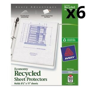 6 Top load Recycled Polypropylene Sheet Protector Clear 100 box