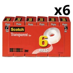 Transparent Tape 1 Core 0 75 X 83 33 Ft Transparent 6 pack Pack Of 6
