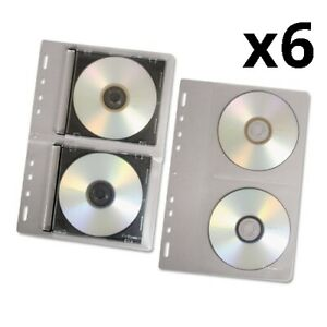 6 Cd dvd Protector Sheets For Three ring Binder Clear 10 pack