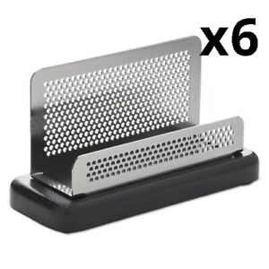 6 Distinctions Business Card Holder Capacity 50 2 1 4 X 4 Cards Metal black