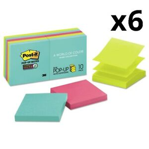6 Pack Of Pop up 3 X 3 Note Refill Miami 90 Notes pad 10 Pads pack