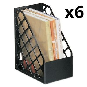 6 Pack Of Recycled Plastic Large Magazine File 6 1 4 X 9 1 2 X 11 3 4 Black
