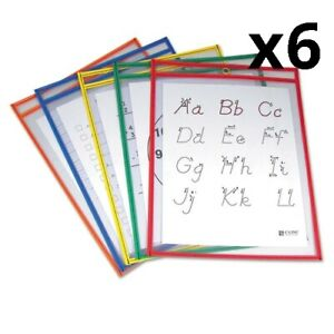 6 Pack Of Reusable Dry Erase Pockets 9 X 12 Assorted Primary Colors 5 pack