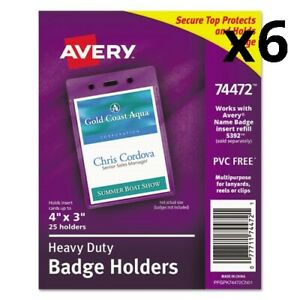 6 Pack Of Secure Top Heavy duty Badge Holders Vertical 3w X 4h Clear 25 pack