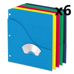Pocket Project Folders 3 hole Punched Letter Size Assorted Colors 10 pack