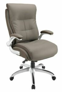 Realspace Ampresso Big And Tall Bonded Leather High back Chair Taupe silver