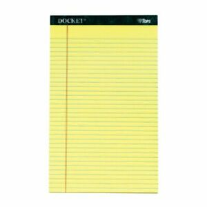 Tops Double Docket Writing Pads 8 1 2 X 14 Legal Ruled 50 Sheets Canary