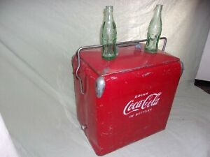 Coca-Cola Red Metal Cooler Ice Chest by Acton MFG 1950's Vintage