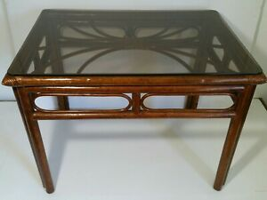 Vintage Bamboo Cane End Table With Glass Top Regency Chinoiserie