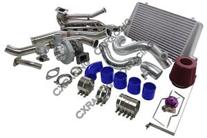Top Mount Gt35 Turbo Kit Manifold Intercooler For 92 98 Bmw E36 6 Cyl M52 S50