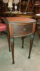 Antique Tall Mahogany Side Table With Drawer Excellent