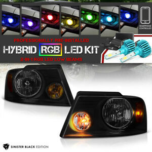 2004 2008 Ford F150 sinister Black Head Lights Assembly rainbow Led Low Beam
