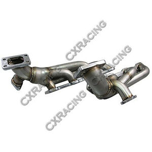 Cxracing Twin Turbo Header T3 38mm Wg For 79 93 Ford Fox Body Mustang 5 0l