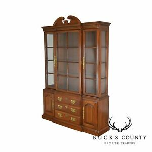 Harden Solid Cherry Traditional China Cabinet Breakfront