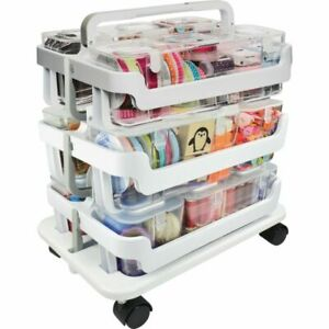 Deflect o Stackable Plastic Caddy Organizer System 22 1 4 h X 16 w X 11 d Whit
