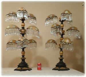 Vtg Pair Art Deco Nouveau Palm Frond Prism Filigree Large Table Lamps Chandelier