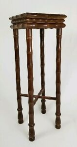 Vintage Faux Bamboo Carved Wood Pedestal Table Plant Stand Chinese Chippendale